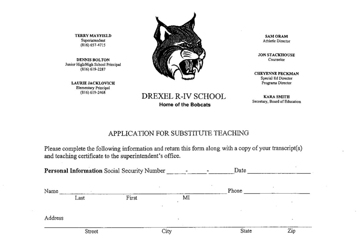 Drexel R Iv School District Drexel Substitute Teaching Form